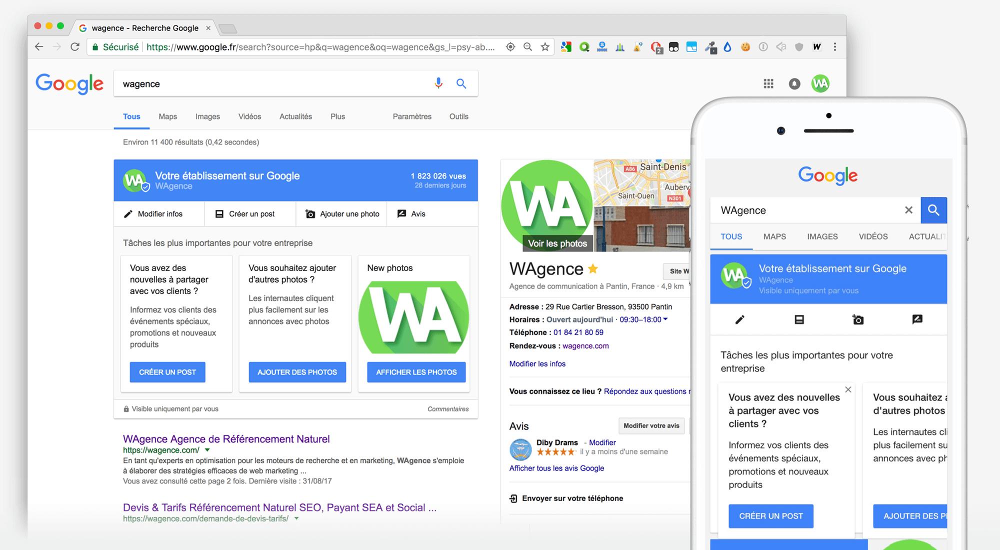 Illustration de la mise à jour d'une page Google My Business depuis les résultats de recherches Google